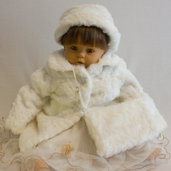Girls Furry Coat with hat & bag
